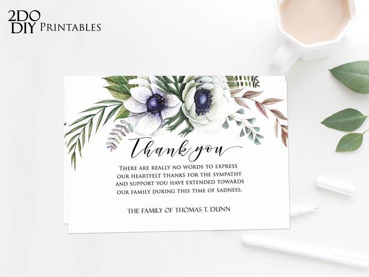 Editable funeral thank you card memorial editable