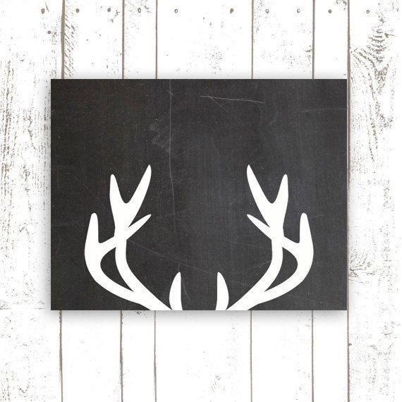 Printable Art Deer Antler Print Chalkboard Art Print