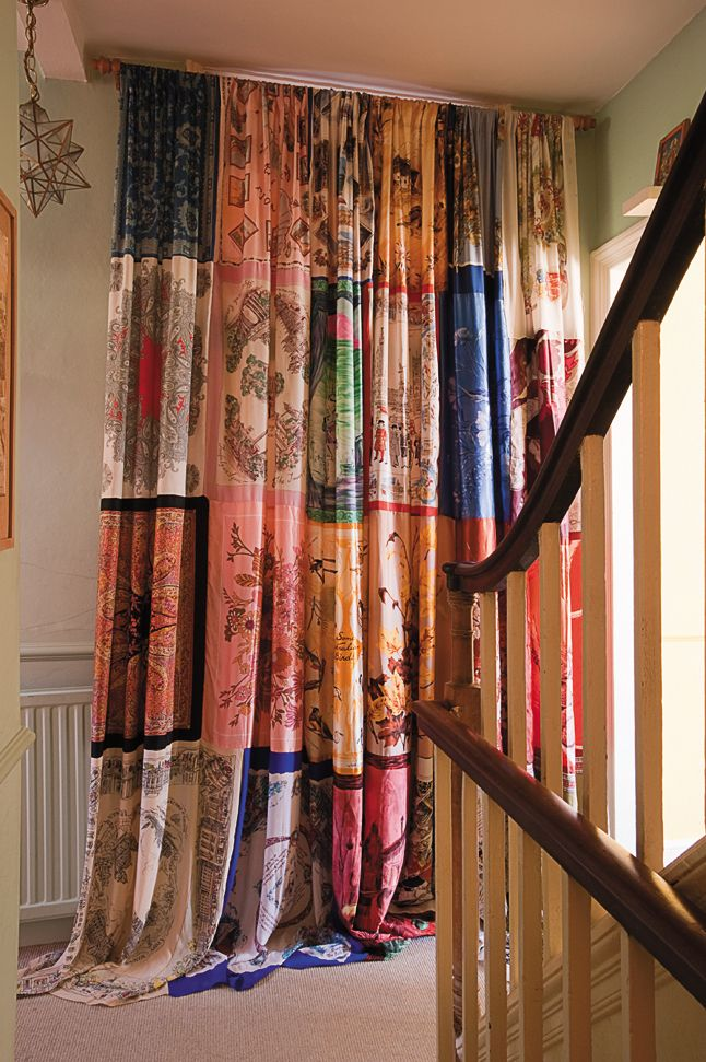 Maggie alderson vintage scarf curtain AMAZING! Vintage scarfs are so cheap too
