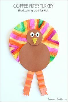 Thanksgiving Craft for Kids: Coffee Filter Turkey Art Project (with template)- easy activity for preschool, kindergarten, and on up! ~ BuggyandBuddy.com
