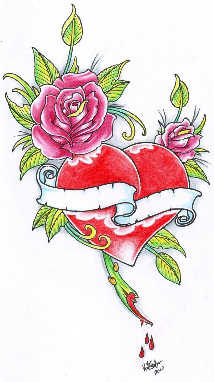 Heart tattoos designs - Rose And Heart Tattoo 2010 By Vikingtattoo Designs Interfaces Tattoo