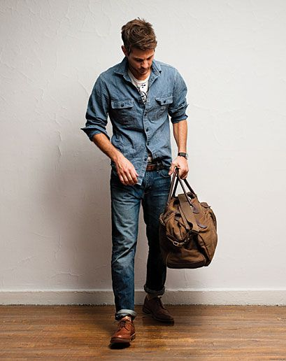 \\ jeans, tee, chambray shirt, brogues & brown duffel