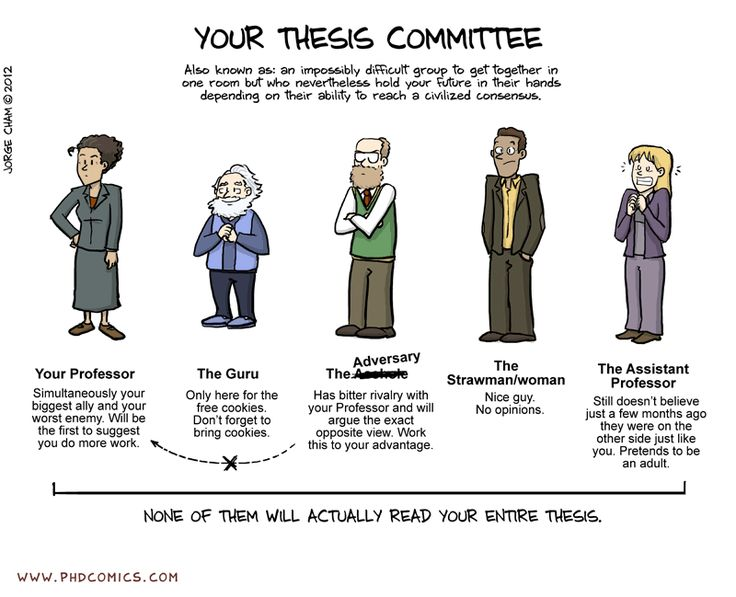 Your Thesis Committee from Ph.D. Comics <-- my master's thesis committee was eerily similar too! Bring cookies!