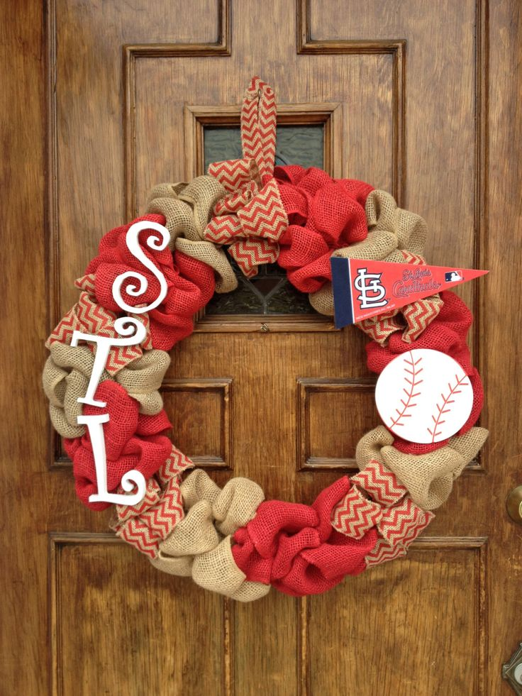 St. Louis Cardinals Wreath by DancingDoorsDecor on Etsy https://www.etsy.com/listing/222725163/st-louis-cardinals-wreath