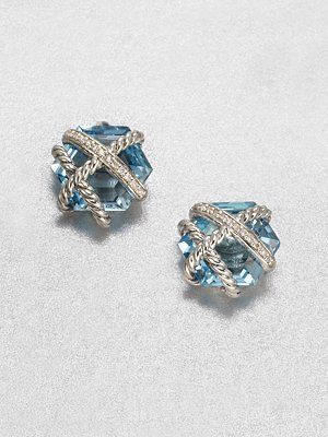 David Yurman Blue Topaz  Diamond Stud Earrings