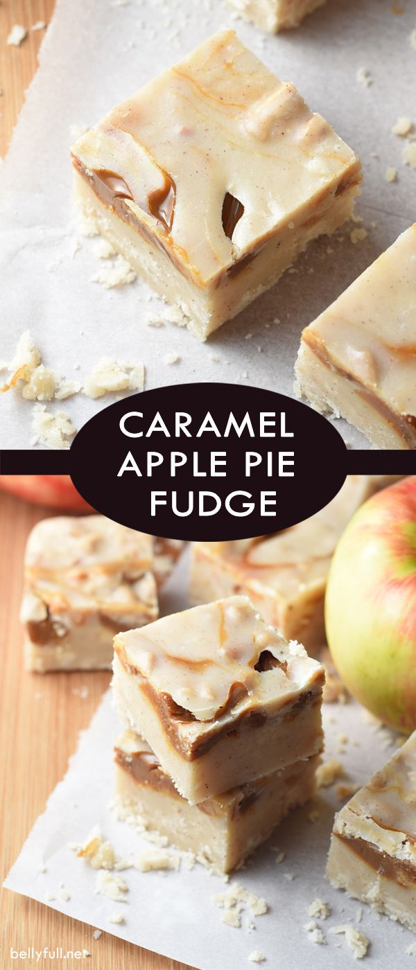 CARAMEL APPLE PIE FUDGE - caramel apples meet apple pie in this fantastic Fall dessert mash-up!