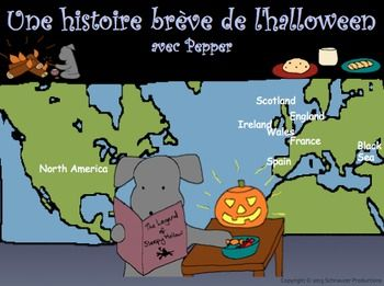 "Pepper has gone back in the depths of time to bring you a short history of Halloween from Europe, and provides French vocabulary along the way.  Learn about the influence of Celtic, Roman, Christian, French, Spanish, Scottish and Irish traditions.  This package contains booklets, an interactive PowerPoint, color and write posters, a ""dress Pepper for Halloween"" vocabulary exercise, a vocabulary quiz and instructions on how to make a paper pumpkin."