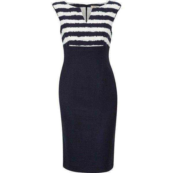 Viyella Petite printed bold stripe dress (15.565 RUB) ❤ liked on Polyvore featuring dresses, vestidos, women, below the knee dresses, viscose dress, striped dress, blue striped dress and rayon dress