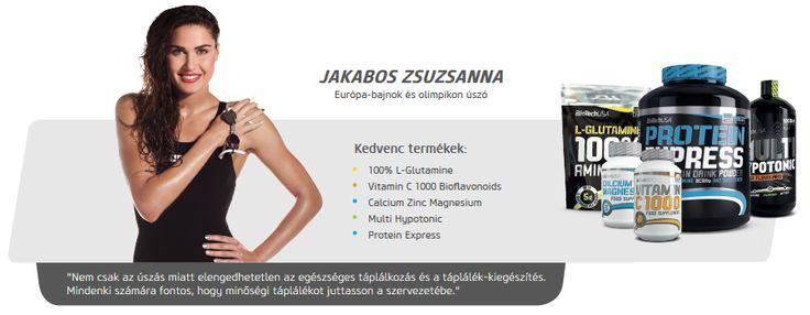 Jakabos Zsuzsanna úszó is Biotech USA termékeket használ.