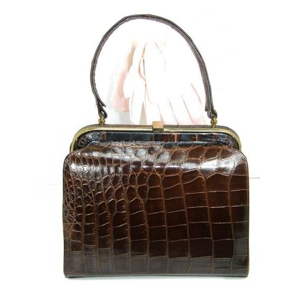 1950's Clothes / Vintage 1950's Brown Alligator Kelly Bag via Polyvore