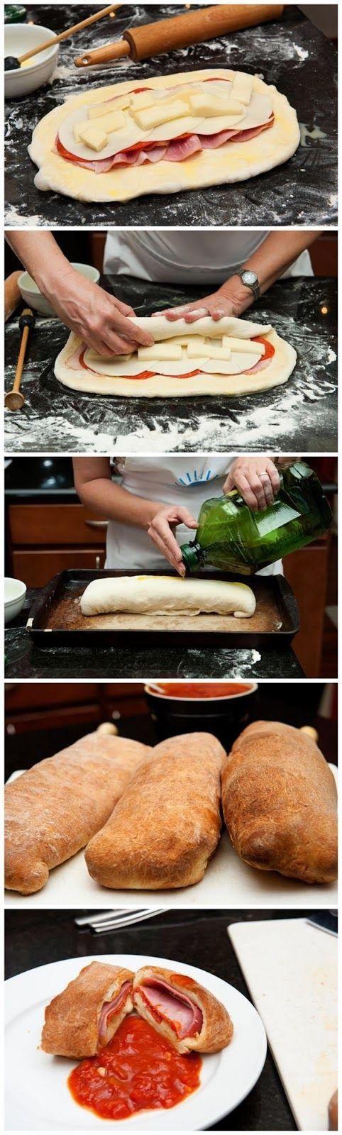 Stromboli, con masa de pizza