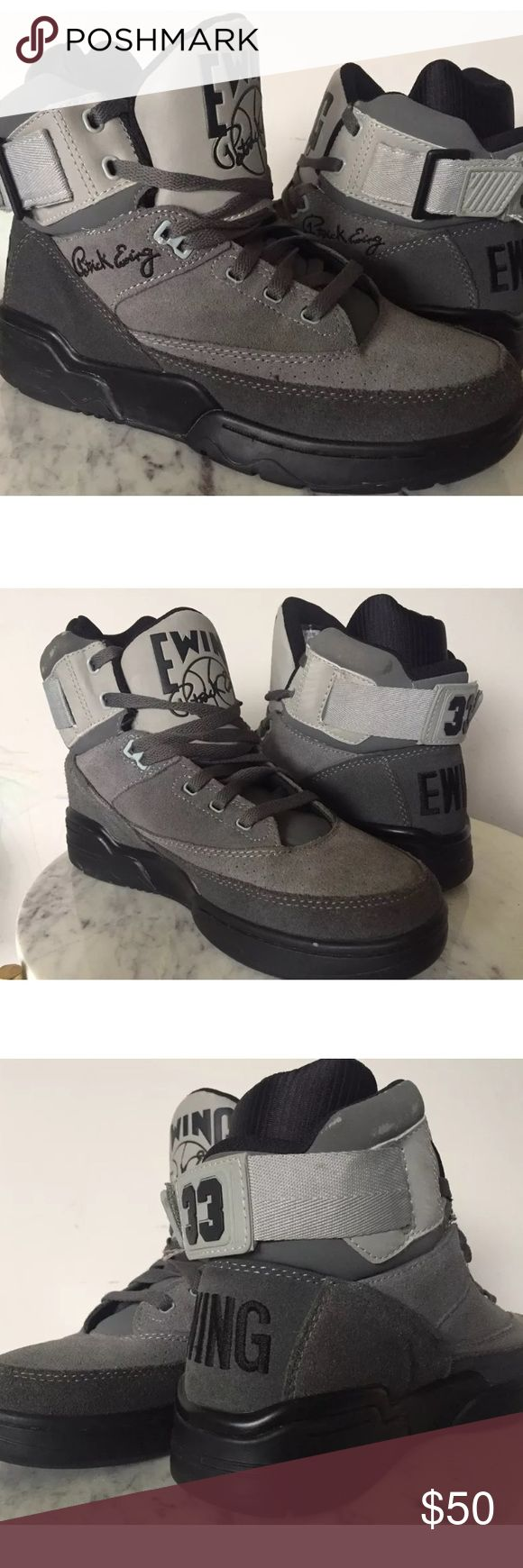 MENS PATRICK EWING SUEDE HIGH TOP SHOES Sz 8 MENS PATRICK EWING SUEDE HIGH TOP SHOES, SIZE 8, COLOR GRAY. IN GOOD USED CONDITION WITH LITTLE WEAR PLEASE SEE PICTURES FOR DETAILS. **BOX NOT INCLUDED** Shoes Sneakers