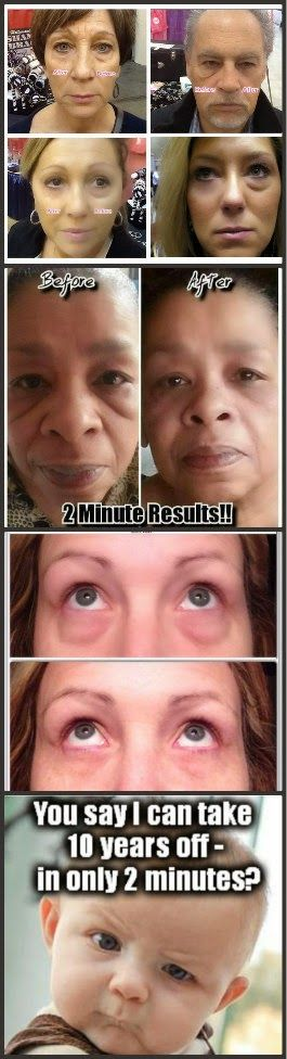 Look Younger In 2 Minutes: New product reduces bags under eyes, one day at a time.  http://www.lookyoungerintenminutes.jeunesseglobal.com/products.aspx?p=INSTANTLY_AGELESS