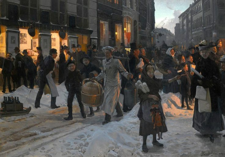 Juletid på Østergade i København 1890. Maleri af Karl Henningsen.