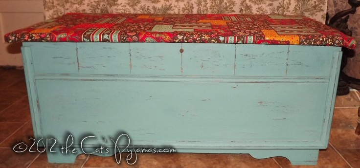 Hand-painted Cedar Chest-- pickup only-Funky, bohemian, distressed paint, cedar chest, hope chest, shabby chic furniture