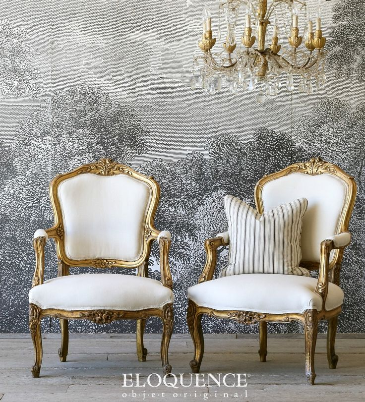 Eloquence One of a Kind Vintage French Louis XV Gilt Armchairs Pair