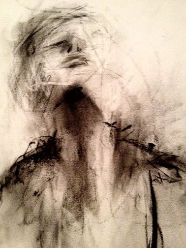 """Marilyn Kalish, 'Portrait Drawing'A 9 year old student of mine just described this """"like a figure made of sand that is starting to blow away""""."""