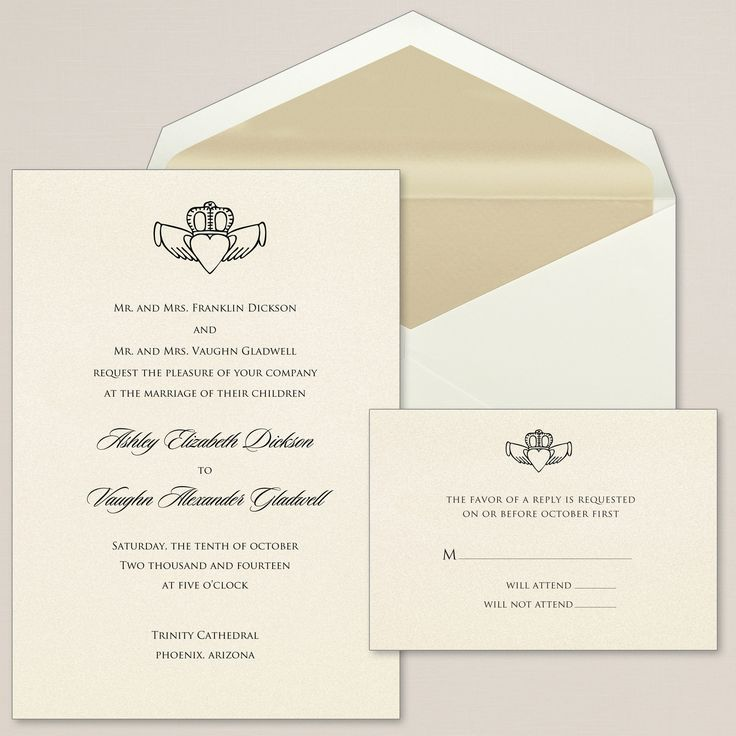 Exclusively Weddings Claddagh Heart Wedding Invitations is a Irish design. Bring the tradition of the Claddagh to your wedding, with its symbols of love, friendship and loyalty.