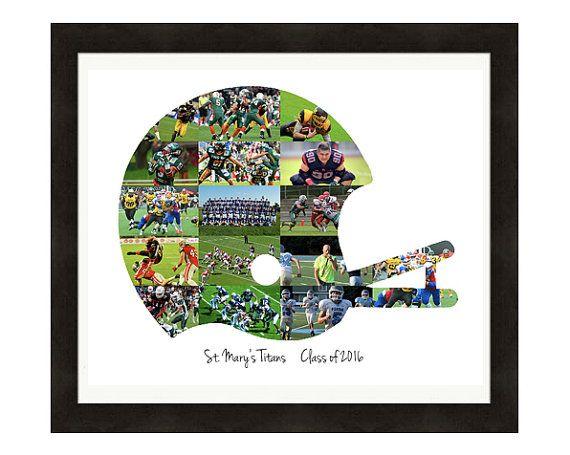 Football Coach Gift Custom Made Football Helmet Photo Collage