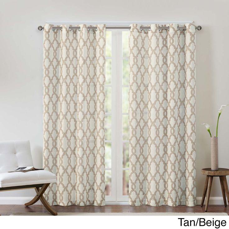Madison Park Grant Textured Fretwork Printed Curtain Panel (50x63-Tan/Beige), Size 50 x 63 (Linen, Geometric)