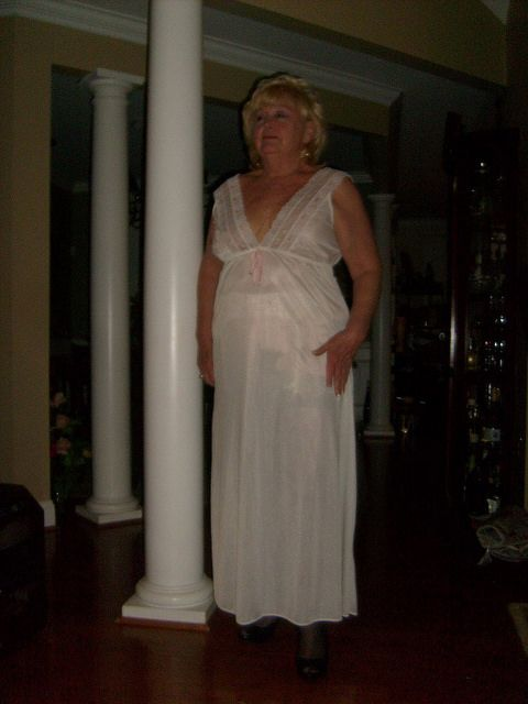 Granny In A Sheer Nightgown And A Garterbelt By