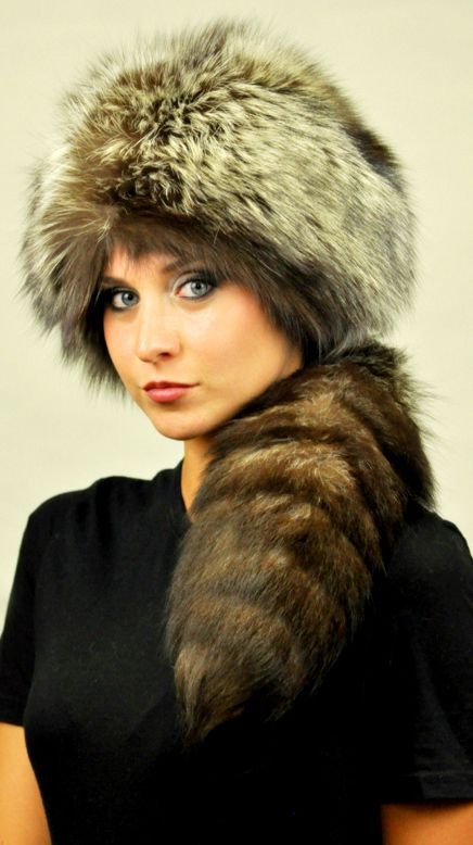 Original and luxury silver fox fur hat with tail. Extremely warm, stylish, fluffy and very high quality. Natural color with different shades.  Each of our fur accessories is handmade in Italy.  www.amifur.com