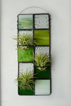 Stained Glass Panel Air Plant Holder Green Quilted by glassetc by amelia