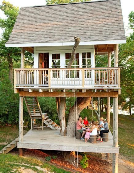 These homeowners built a treehouse to provide fun all summer for friends, family and guests. Details: http://www.midwestliving.com/homes/featured-homes/we-bought-a-camp/page/7/0