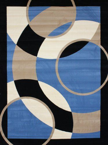 New City Brand Contemporary Blue And Beige Modern Circles Area Rug 710 X 1010