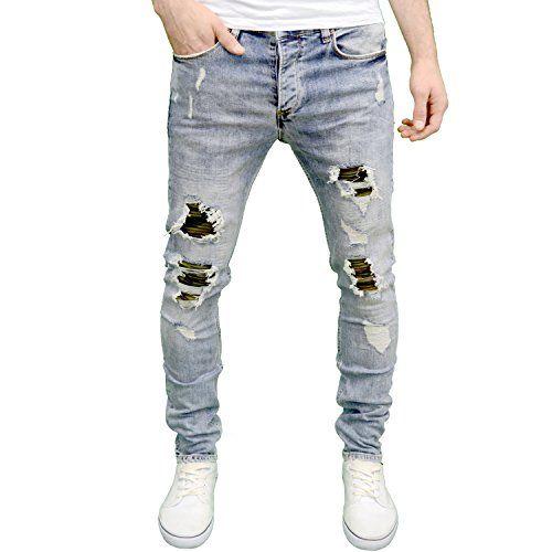 7dbde100d3 Eto Mens Designer Branded Lightwash Slim Fit Ripped Camo Patch Jeans (30W x  32L, Lightstonewash)