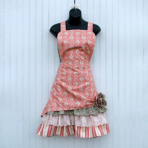 Womans Peach and Green Floral Bib Apron  Retro by KozyKitchens