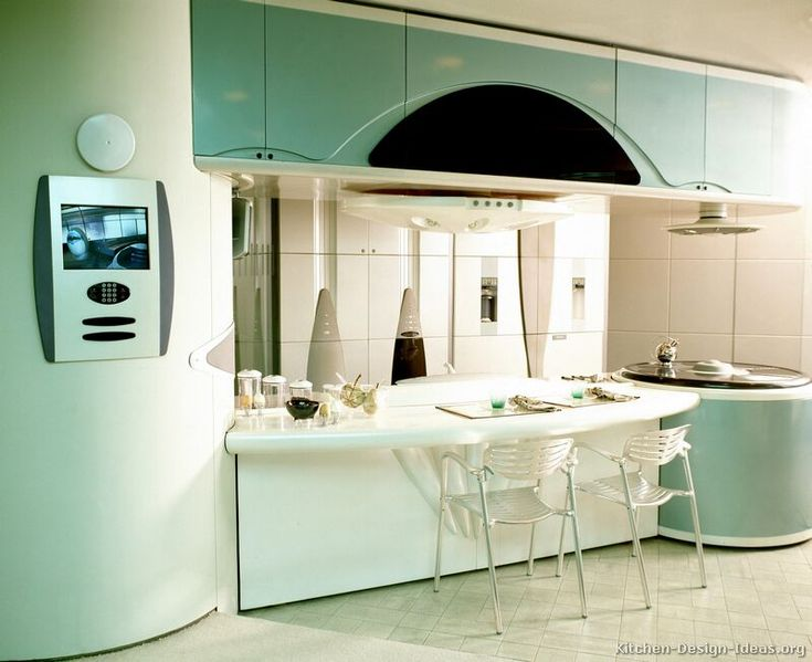 Retro Futuristic Kitchen Design With Curved Turquoise Cabinets
