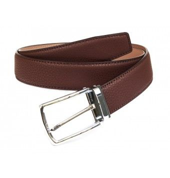 Brown Textured Leather Belt With Pin Buckle