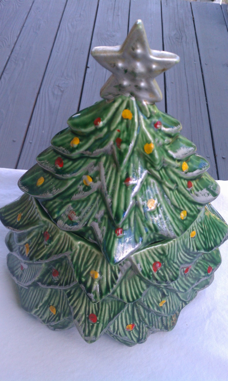 Vintage Christmas Tree Cookie Jar
