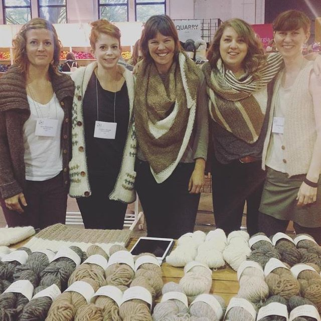 Love this shot! It's a regram from @andrearknits of all the local gals who designed for the new @hinterland_textiles collection of patterns: #knitcity2016