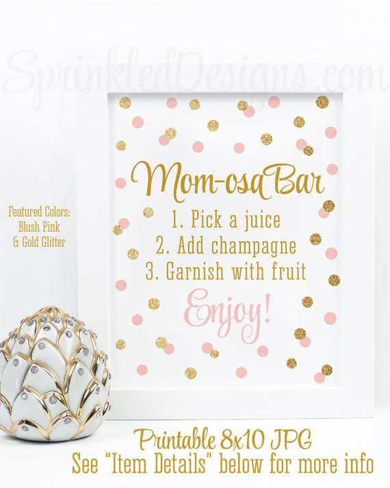 Momosa Bar Sign - Blush Pink Gold Glitter Mom-osa Mimosa Bar Baby Shower Ideas - Baby Girl Sip N See Party Sign - Printable 8x10 Table Sign by SprinkledDesigns.com