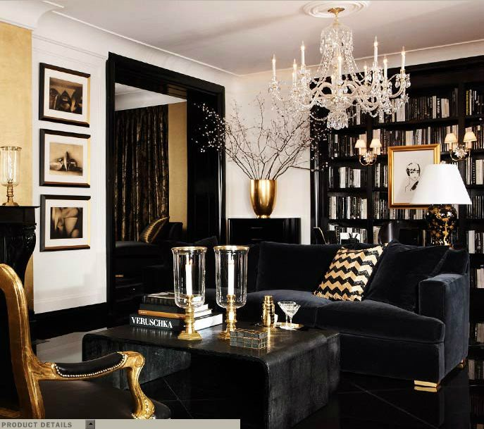 Schön Ralph Lauren Home One Fifth Collection Black And Gold Art Deco Feminine Cat  New York City