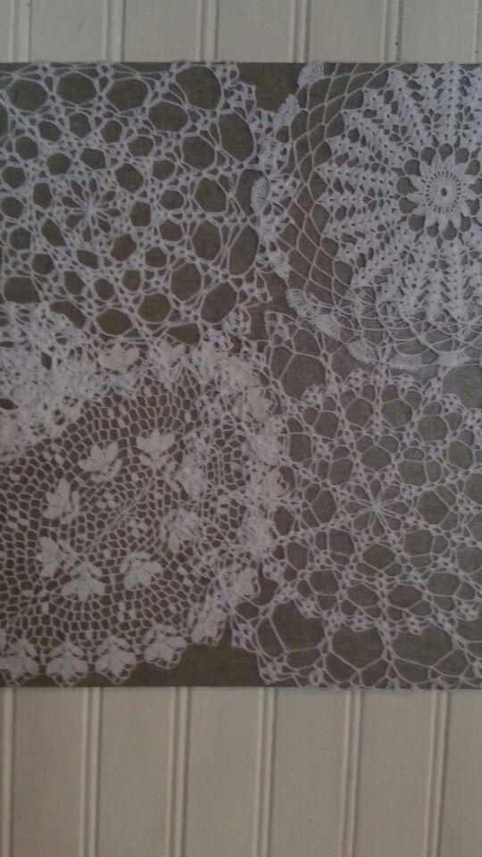 Tableau de dentelle création Cathylf coton de chez Adriafil