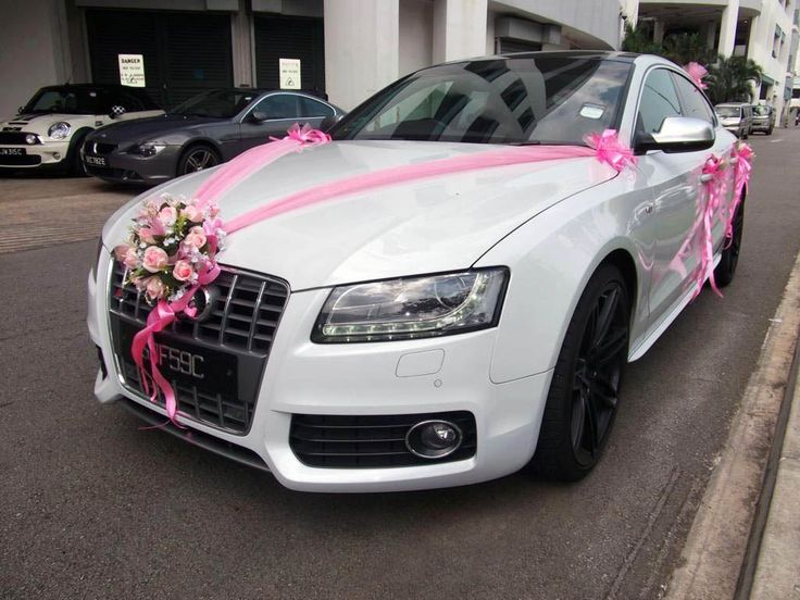 White Audi Wedding Car Decorations By Ace Drive Rental