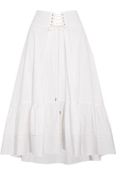 3.1 Phillip Lim - Lace-up Cotton-poplin Midi Skirt - White