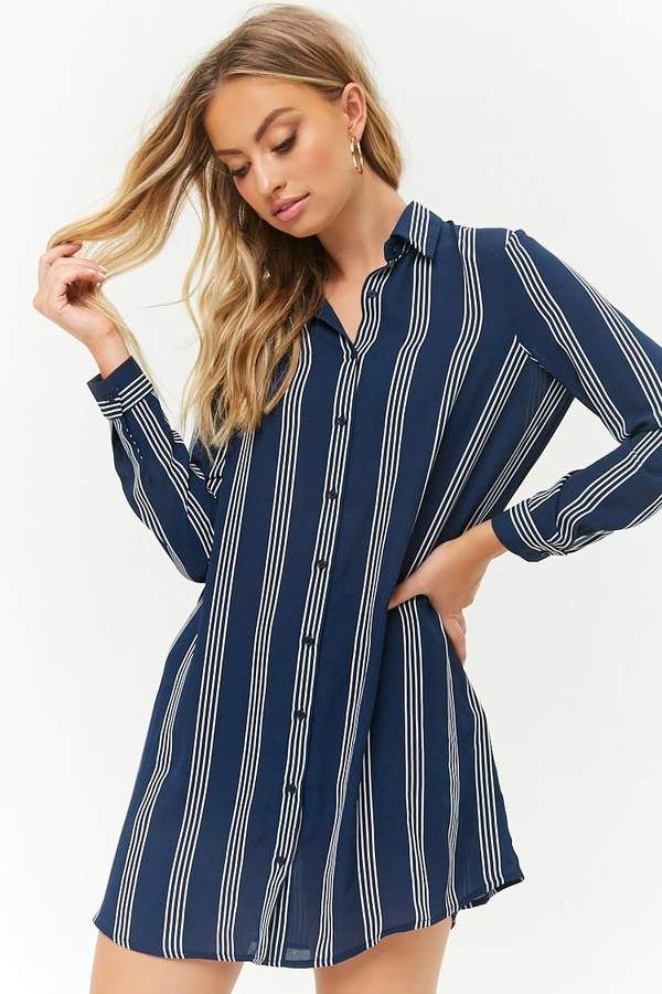 6c73d69375b Forever 21 Striped Chiffon Shirt Dress
