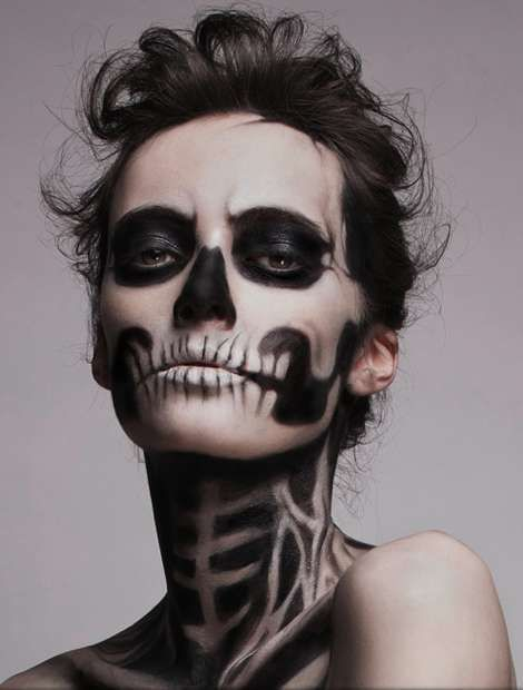 halloween skeleton face painting idea - Halloween Skull Face Paint Ideas