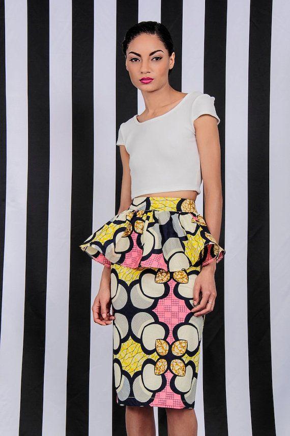 #AfricanShopOnline #Ankara #AnkaraSkirt NEW The Kait Peplum Skirt by DemestiksNewYork on Etsy, $95.00