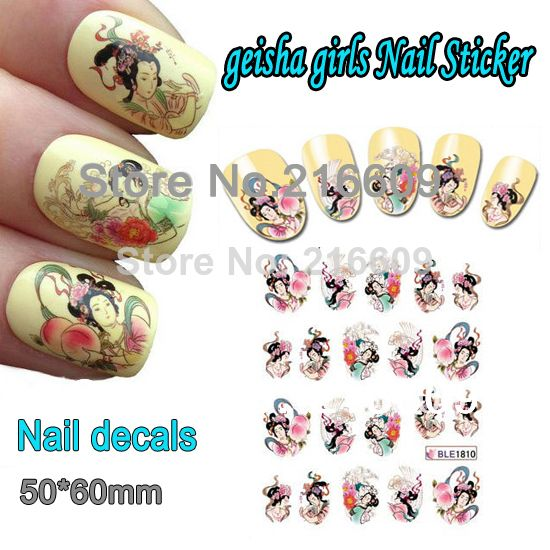 Nail 20Sheets/Lot Nail Geisha Girls Beauty Nail art Decoration Wrap Water Transfers Sticker Floral Decal Decoration BLE1810 $7.80
