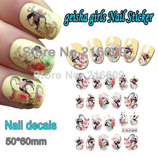 Nail 20Sheets/Lot Nail Geisha Girls Beauty Nail art Decoration Wrap Water Transfers Sticker Floral Decal Decoration BLE1810 $7.80