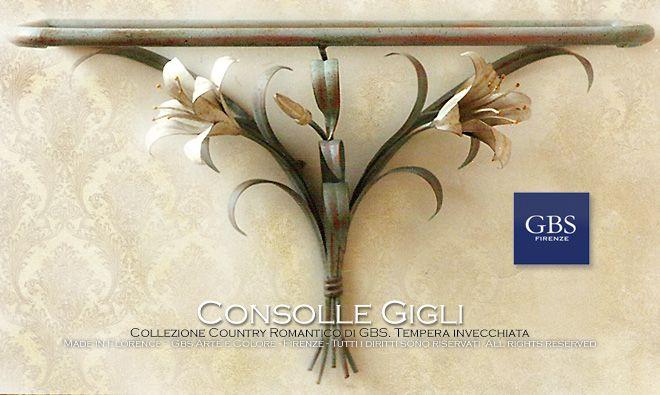 Mensola Gigli Bianchi. Console a muro in ferro battuto e decorato a mano. Su misura. Handmade in Florence. All rights reserved. gbsfirenze.com