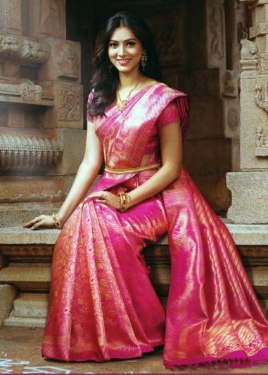 Pink Colored Pure Kanchipuram Tissue Silk Saree by Shreedevi Textile Coimbatore. South Indian bridal fashion.