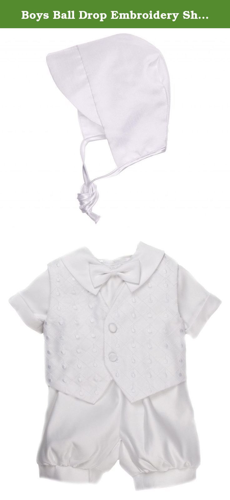 Boys Ball Drop Embroidery Short Set and Hat 12M. A classic. Checkered detail on the vest with crisp white knickers to boot! This set will easily translate as a favorite in the family as one child is christened and inspiring others to follow suit. Easy to clean with easy to dress/undress button features, you'll be glad you invested in a sure-buy. The shorts feature an elastic waist, so your child can fit, no matter his belly size. The bow is attached, so you don't have to work so hard.
