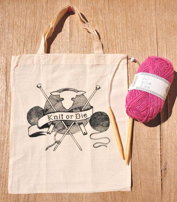 Knitting bag screenprinted original illustration Knit by Pizublic, $20.00