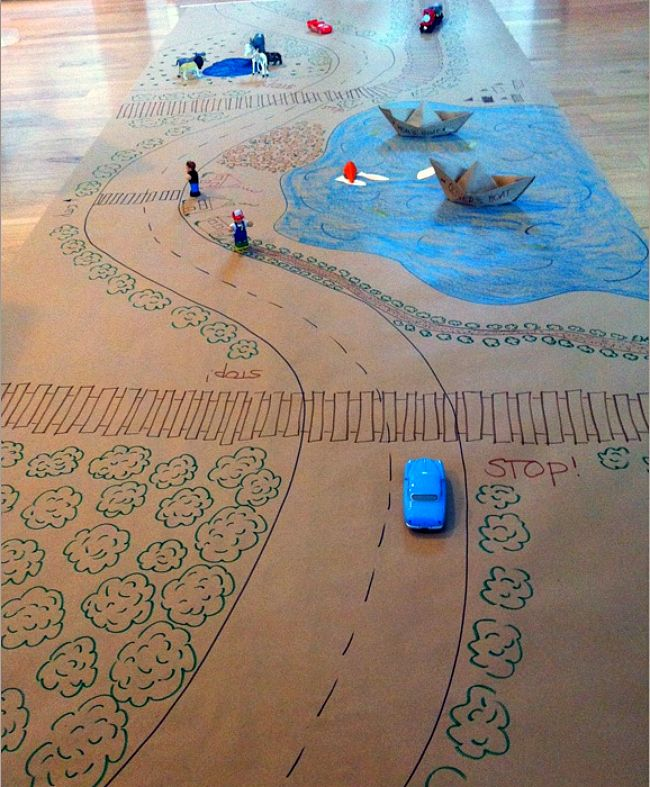 Kraft Paper DIY Fun - I wonder if I can try this with a carpet. Cool.